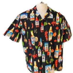 Pacific Legend Hawaiian Shirt XL Black Cotton Chil
